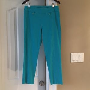 Pull-on ankle pants with spandex